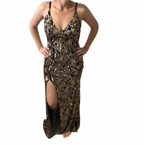 Black & Gold sequin gown Medium